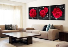 ФОТО home decor high precision  wall printing set of 3 bright red roses stretched canvas print ready to hang