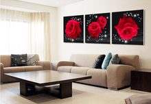 Btf Modern wall art Print 3 piece red rose flower Home decor pictures on the wall pictures for living room canvas paintings(China)