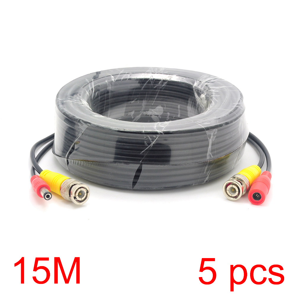 5x 15M/49FT BNC DC Connector Power Audio Video AV Wire Cable For CCTV Camera