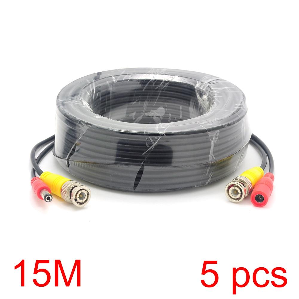 5x 15M/49FT BNC DC Connector Power Audio Video AV Wire Cable For CCTV Camera m audio keyrig 49 в москве