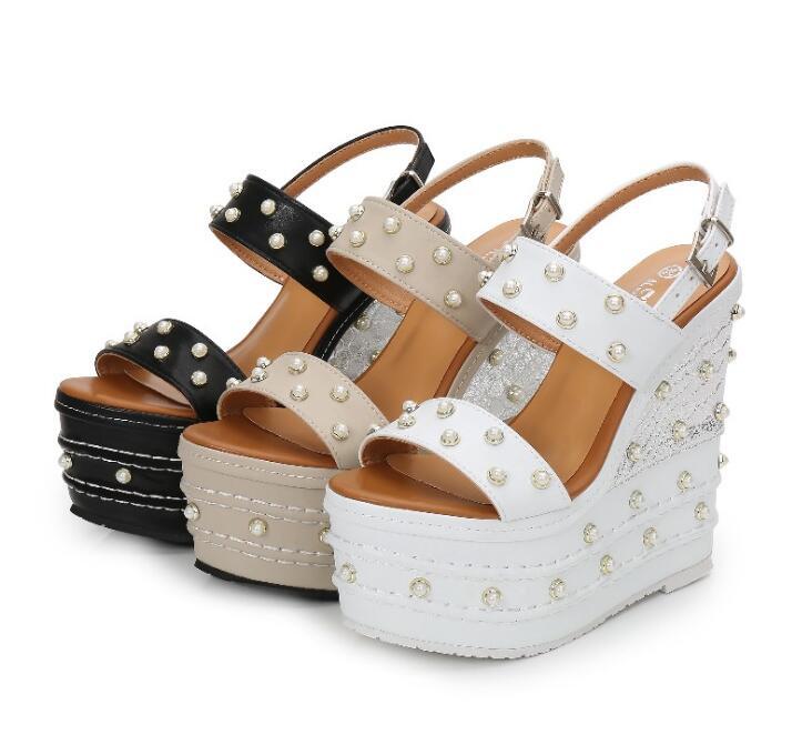 Spring Summer Newest 16cm Heels Sexy Sandal Woman Open Toe Platform Buckle Strap Gladiator Shoe White Pearls Beaded Cutouts Heel