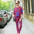 2016 Moda Verão Conjunto Calça Mulheres Terno Ternos Two-piece Conjuntos de Calças Chiffon Feminino Vermelho Duplo 2 Peça Elegante Treino Floral