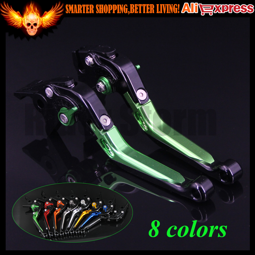 Green+Black 8 Colors CNC Adjustable Folding Extendable Motorcycle Brake Clutch Levers For Kawasaki Z1000 2003 2004 2005 2006 adjustable folding extendable brake clutch levers for kawasaki versys 1000 w800 zzr1200 zrx1100 1200 8 colors
