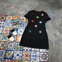 2018 Новое поступление летнее платье О образным вырезом короткий рукав Star вышивки трапециевидной формы женское платье Бесплатная доставка