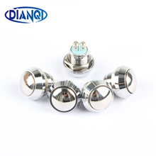 12mm metal push botton waterproof nickel plated brass domed push button switch 1NO momentary reset screw terminal 12QX.F.L