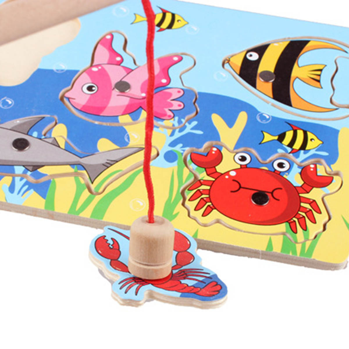 Official Website 1set Magnetic Fishing Toy Board Cartoon Wooden Fishes Magnet Rod Fishing Toy Educational Fish Shape Matching Puzzle Jigsaw Toys Toys & Hobbies Fishing Toys