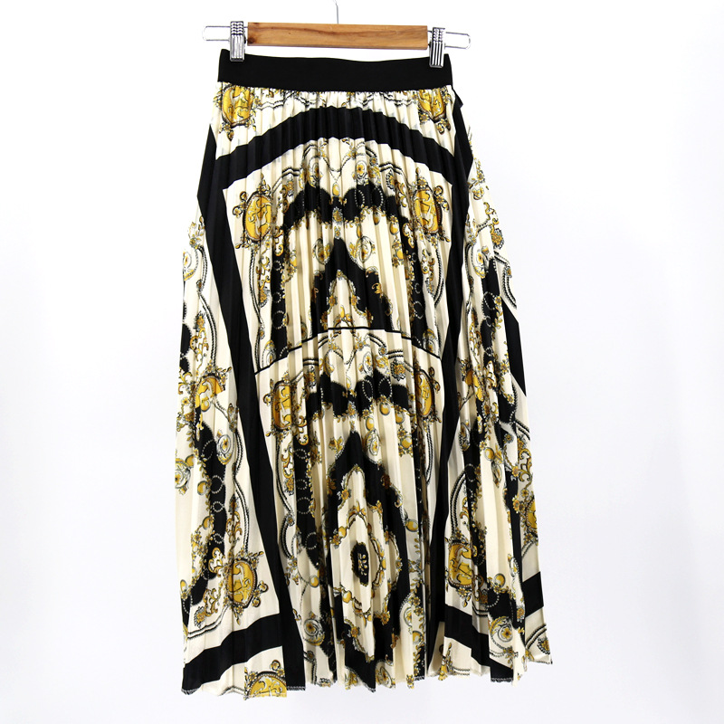 2019 Women's Vintage Pattern Printed Skirt Bohemian Style Breathable Waist Pleated Skirt Three Colors Straight Bottom