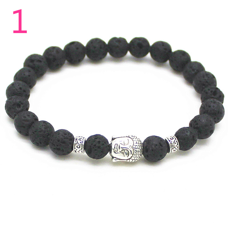 2016 Natural Stone bead Buddha Bracelets For Women and Men,Silver - Fashion Jewelry