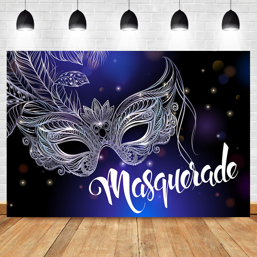 Neoback Silver Mask Birthday Party Photography Backdrops Masquerade Purple Glitter Bokeh Background for Photo