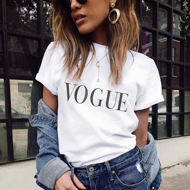 2018 Summer Women T shirt VOGUE Letter Printed Tshirts Casual Tops Tee Harajuku Vintage White Shirt