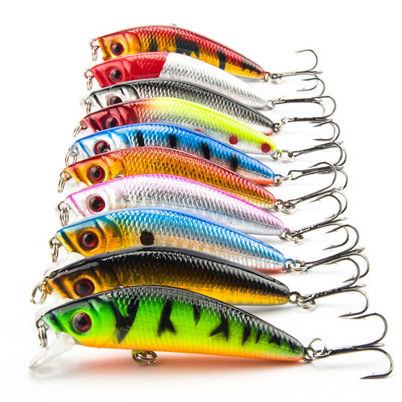 10PCS/Lot Minnow Fishing Lure 7CM 8.5G 6# Hooks Fish Wobbler Tackle Crankbait Artificial Japan Hard Bait Swimbait portable 2 layers many compartments visible pvc fishing lure bait hooks fish tackle box accessory storage box case fishing tool