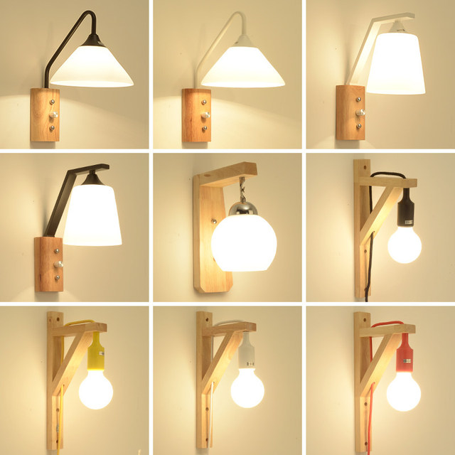 TRAZOS Adjustable wooden Wall Lamps Modern Foldable Wall Sconce E27 Bedside Lights For Bedroom Matel Reading Home Lighting
