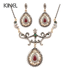 Kinel Luxury Necklaces And Earrings Sets For Women Antique Gold Color Water Drop Crystal Vintage Wedding Jewelry 2017 New(China)