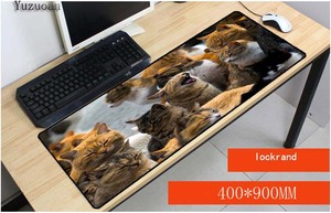 Sale Price Yuzuoan 400*900 *3mm Large Size Cute Cat Mousepad Pets Gift Accept Image Customize Anti Slip Gaming Mouse Pad Fashion Mouse Mat — nvrelitisrs