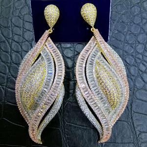 Image 3 - GODKI Luxury Cubic Zircon Crystal CZ Nigerian Long Dangle Earring For Women African Bridal Earring aretes de mujer modernos 2018
