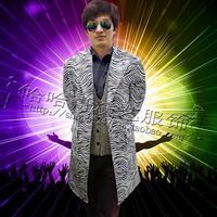 Зебра длинная одежда мужские костюмы конструкции masculino homme terno этап певцов P Куртки Мужские Блейзер star стильное платье в стиле панк