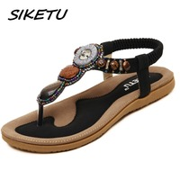SIKETU Women S Flat Sandals Shoes Woman Bohemia Beach Sandals Ethnic Retro Student Flip Flop Sandals