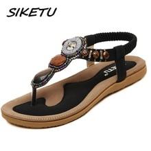 SIKETU women's flat sandals shoes woman Bohemia beach sandals ethnic retro student flip flop sandals string bead size 35-42