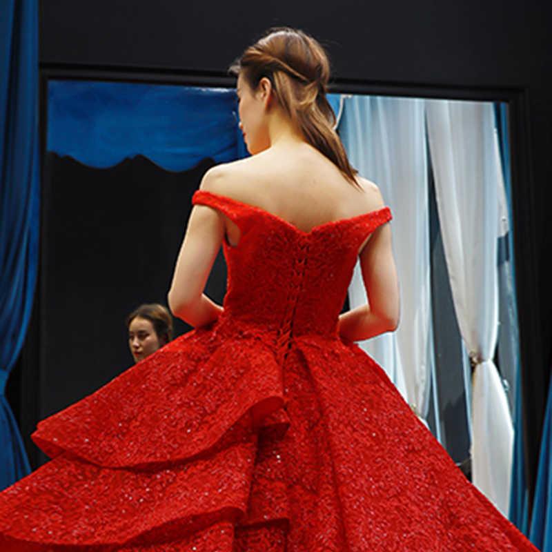 J66717 jancember ערב שמלה כבויה כתף שרוולים תחרה עד בחזרה רצפת אורך אדום מסיבת חתונת שמלות vestidos דה novia 2019