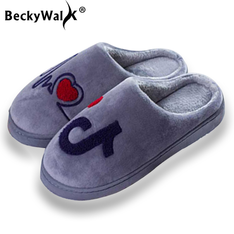 BeckyWalk Plush Women Winter Home Slippers Indoor Bedroom Women Shoes Musical Note Warm House Shoes Woman Men Slippers WSH3125