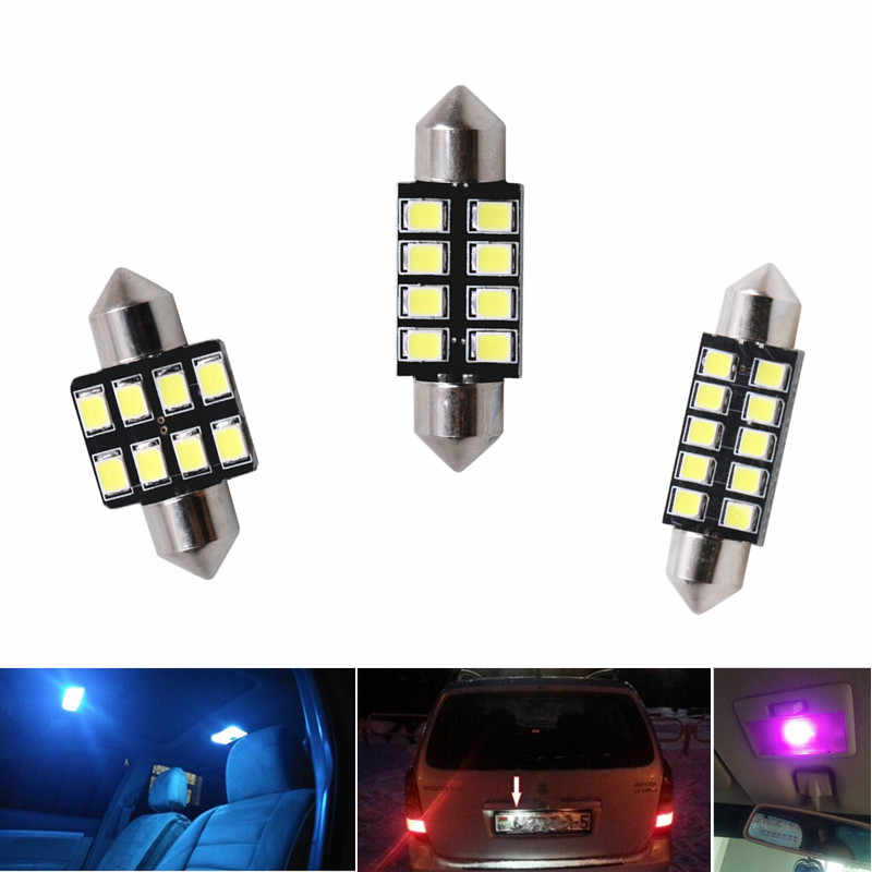 Car Led Light 31mm 36mm 39mm 41mm 2835 SMD C5W C10W Auto Lamp Bulb Interior Lights External Lights Pure White Ice Blue pink