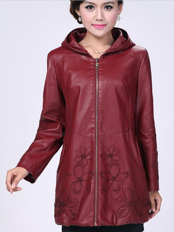 Leather coats women's new 2019 spring leather clothing ladies outerwear large size 4XL jackets women red leather jacket