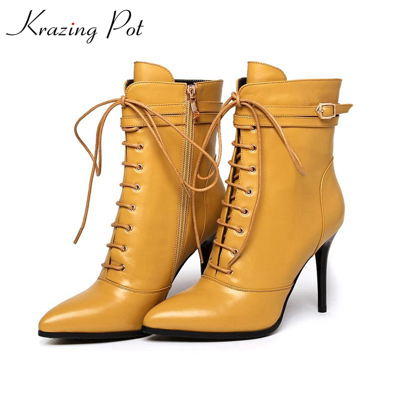 Krazing pot new winter brand shoes yellow color lace up pointed toe thin high heels genuine leather runway style ankle boots L78 top new men boots fashion casual high shoes cowboy style high quality lace up classic leather ankle brand design season winter