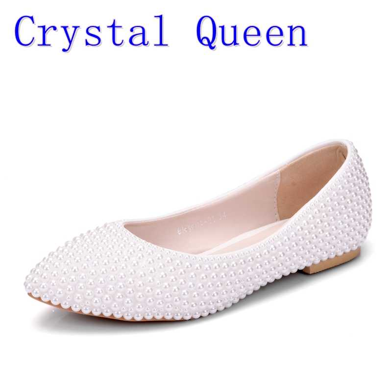 c1aa34a25 Crystal Queen Women Shoes New Handmade Lady Pearl White Wedding Shoes Flat  Fashion Sexy Comfortable Bridal