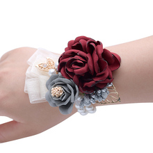 Prom Cloth Rose Flower Party Wrist Wedding Boutonnieres Hot Pink Bridesmaid Corsage Hand Flowers For Marriage Accessories