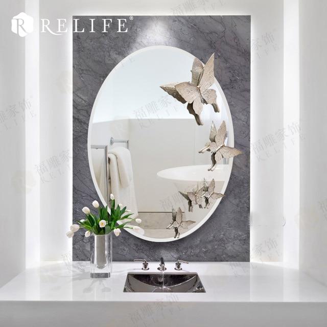 Großhandel Oval Wandspiegel Wohnkultur Harz Schmetterling Dekorative Spiegel  Für Badezimmer