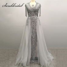 New Arrival Real Pictures Celebrity-Inspired Dresses 2019 Luxury Beading Gray Women Formal Evening Party Gown Pre-Sale L5486