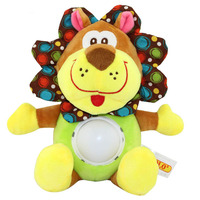 Flashing Melody Musical Soft Stuffed Animal Plush Toy Baby Rattles Cartoon Early Educational Lion Butterfly Doll