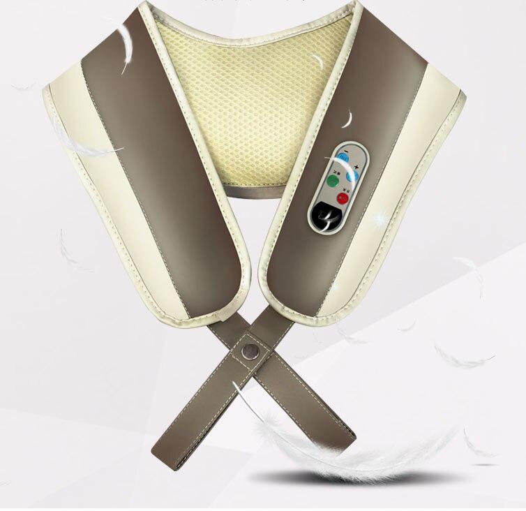 цены Neck Shoulder Taping Knocking Kneading Massager Belt Cervical Shiatsu Massage Heating Vibrating Full Body Electronic Vibration
