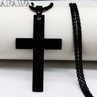Collar de cadena de acero inoxidable con Cruz para hombre, gargantilla de Color negro, colgantes, joyería masculina, moda 2021, N18981