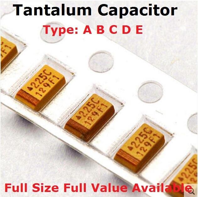 10PCS Type B 1UF 4.7UF 10UF 47UF 100UF 220UF Tantalum Capacitor 4V 6.3V 16V 25V 35V 50V 3528 1210 227 476 107 475 106 105