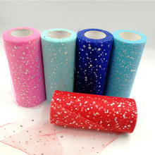 Glitter Sequin 15cm*22m Tulle Roll Spool Tutu skirt Wedding Decoration Organza Laser DIY Craft Birthday Party Supplie