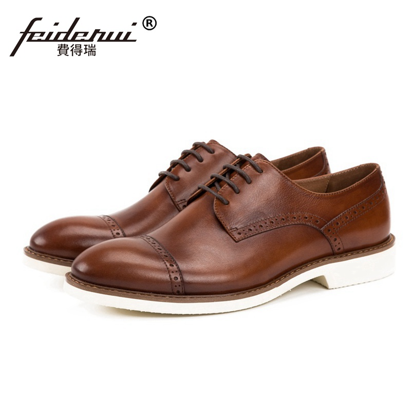 2018 New Vintage Round Toe Man Formal Dress Semi Brogue Shoes Genuine Leather Carved Handmade Wedding Party Men's Footwear SS134