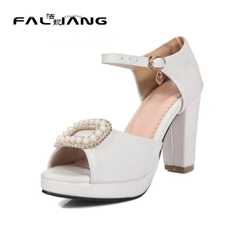 ФОТО Big Size 11 12 Elegant String Bead Square heel Women's Shoes Extreme High Heels Sandals Woman For Women Platform Shoes