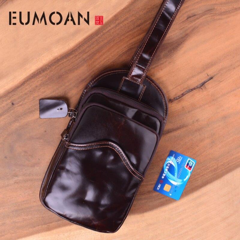EUMOAN huile cire cuir sac pour hommes en cuir poitrine sac en cuir épaule Messenger sac rétro décontracté jeunesse mode marée sac
