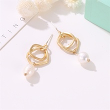 TTLIFE Trendy Elegant Created Simulated Pearl Long Earrings Pearls Geometric Statement Drop For Wedding Party Gift
