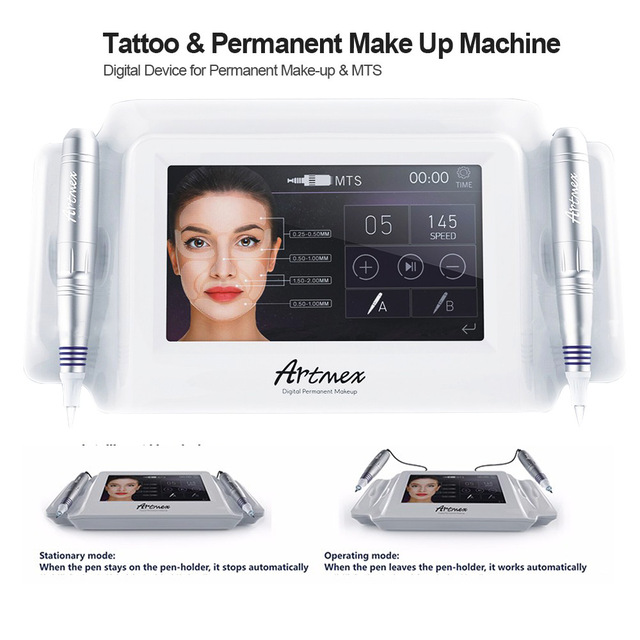 Artmex V8 tattoo machine 7 inch glass touch screen MTS + PMU digital tattoo professional V6 permanent makeup machine for eyebrow