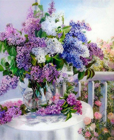 5D DIY Diamond Painting Flowers of Basket Crystals cross stitch kits diamond embroidery Lilac mosaic rhinestones home decoration