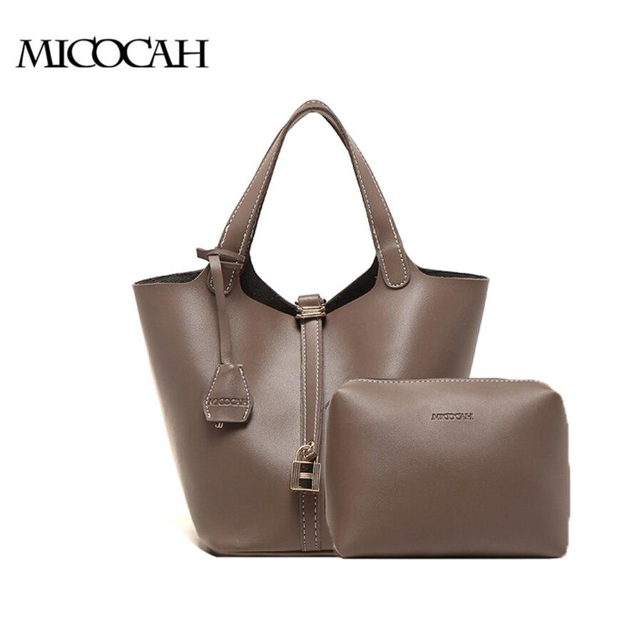 MICOCAH 2 PCS Fashion Women HandBag Metal Lock Design Women Bag 3 Colors Tote Bag High Quality Brand Bag NCT096 high quality tote bag composite bag 2