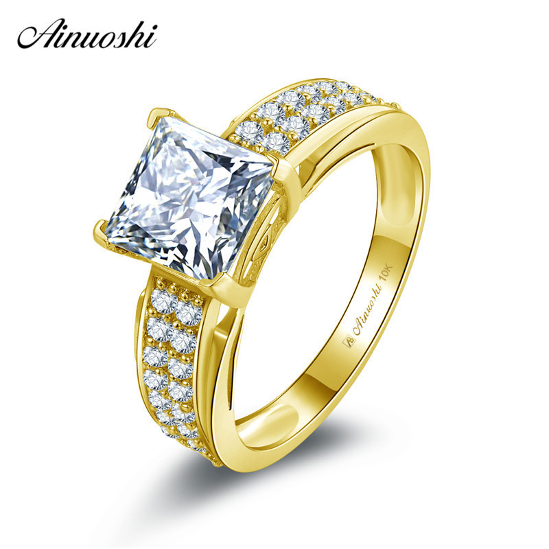 AINUOSHI 10k Solid Yellow Gold Square Ring 1.6ct Princess Cut Wedding Engagement Bague Bridal Band Anillo 2 Rows CZ Woman RingAINUOSHI 10k Solid Yellow Gold Square Ring 1.6ct Princess Cut Wedding Engagement Bague Bridal Band Anillo 2 Rows CZ Woman Ring