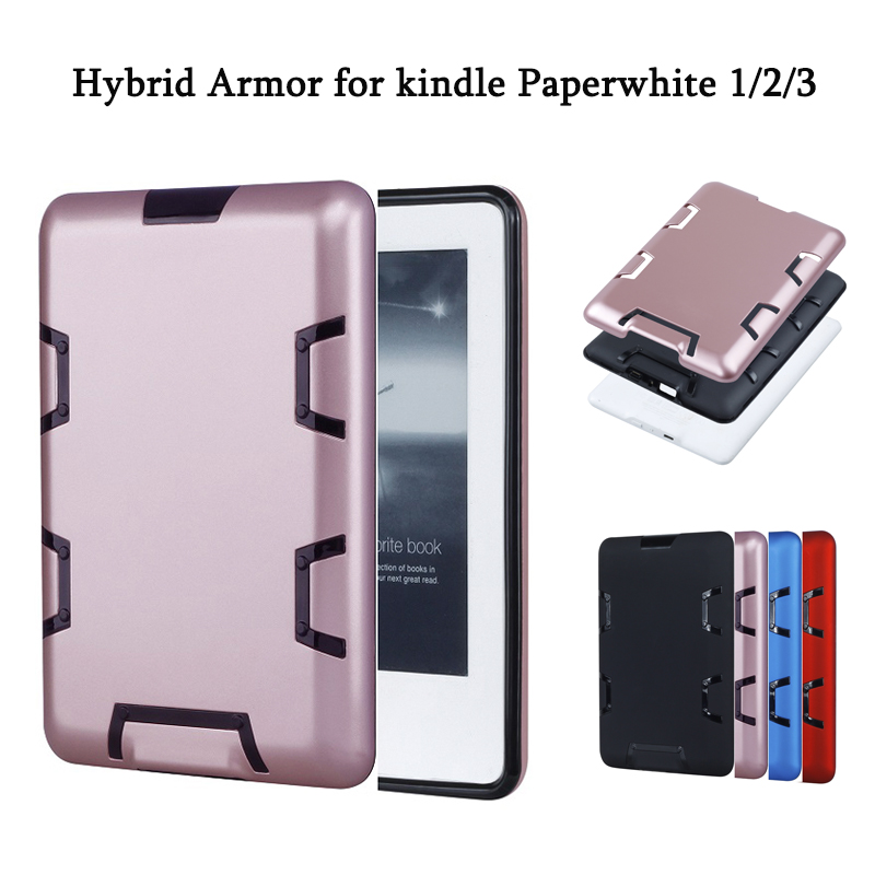 ebook Case for amazon kindle Paperwhite 1 2 3 Case High Quality PC Hybrid Anti knock Armor Silicone Protective Back Cover for amazon 2017 new kindle fire hd 8 armor shockproof hybrid heavy duty protective stand cover case for kindle fire hd8 2017