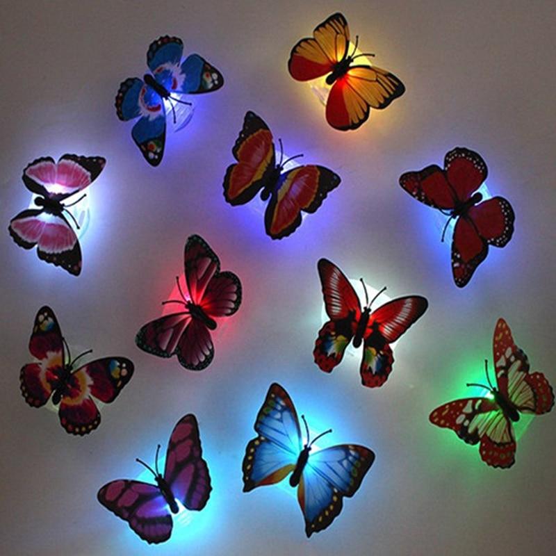 5pcs! Romantic Novelty Glowing Butterfly Lamp Led Bottom Sticker Wall Night Light For Children Room Decorative Fluorescent Light