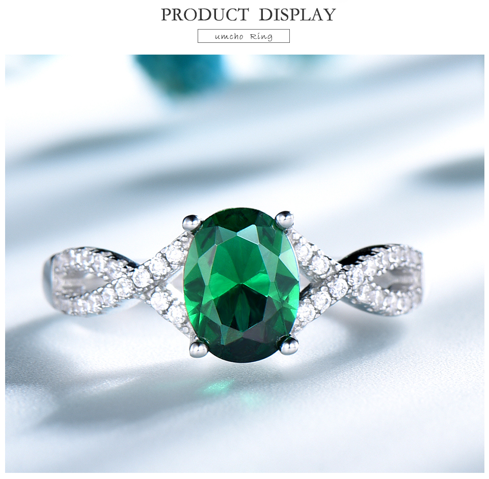 UMCHO Emerald  925 sterling silver rings for women RUJ099E-1-pc (3)