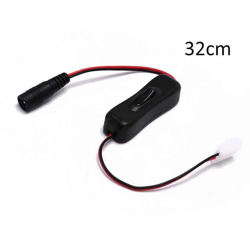 Interruptor de conector CC de 1 unidad 5 V 12 V 24 V para luz de tira LED CCTV en línea 304 interruptor encendido apagado con Cable de alimentación macho hembra 5,5x2,1mm
