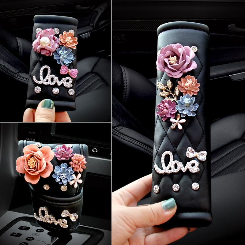 PU Leather Camellia Flowers Safety Belt Shoulder Pad Handbrake Grip And Gear Shift Collar Set Beautiful Car Interior Styling