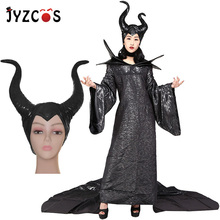 JYZCOS Adult Women Latex Maleficent Horns Headpiece Mask Jolie Cosplay Hat Halloween Party Costume Props